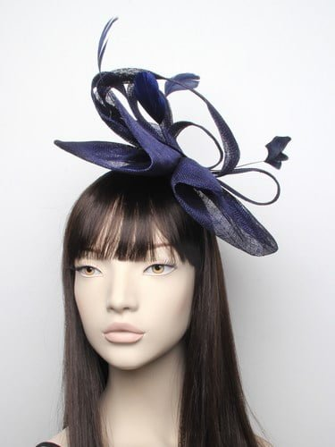 Large navy blue fascinator with feathers on aliceband. (alt 2)