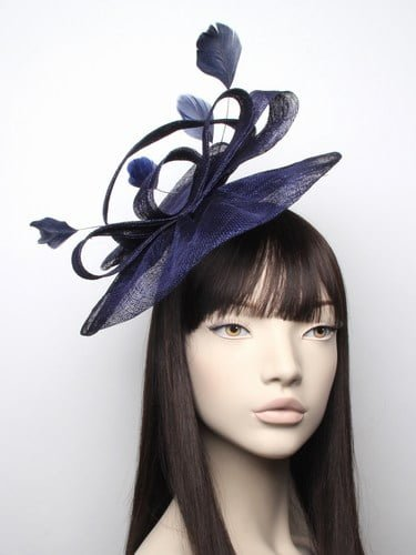 Large navy blue fascinator with feathers on aliceband. (alt 3)