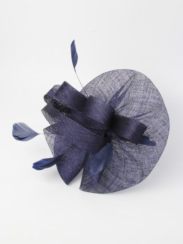 Large navy blue fascinator with feathers on aliceband. (alt 5)