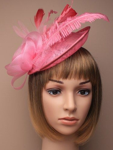 Large pink fascinator with flower and feathers on aliceband. (alt 1)