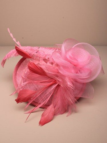 Large pink fascinator with flower and feathers on aliceband. (alt 2)