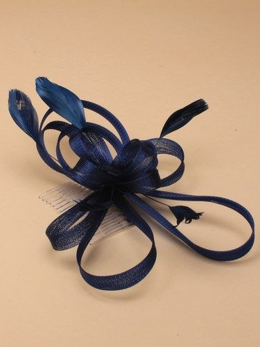 Navy blue looped fascinator with feathers on comb. (alt 3)