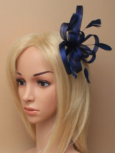 Navy blue looped fascinator with feathers on comb. (alt 2)