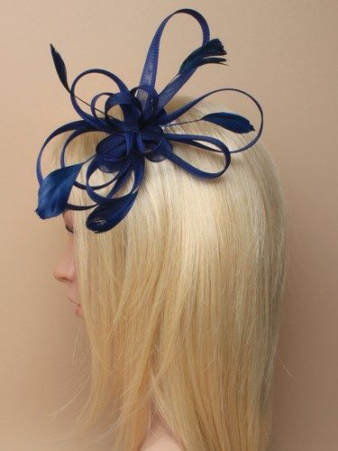 Navy blue looped fascinator with feathers on comb. (alt 1)