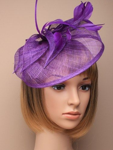 Large purple fascinator with feathers, leaves and bow on aliceband. (alt 2)