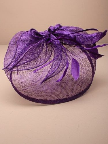 Large purple fascinator with feathers, leaves and bow on aliceband. (alt 1)