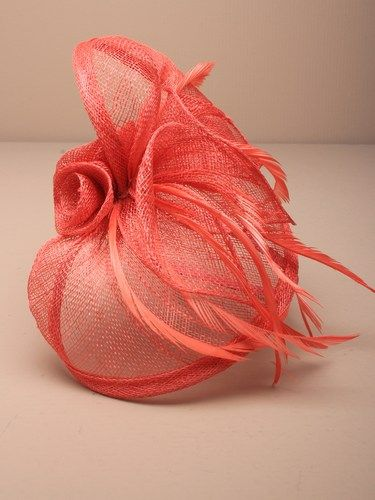 Coral fascinator with simulated roses and feathers on aliceband. (alt 2)