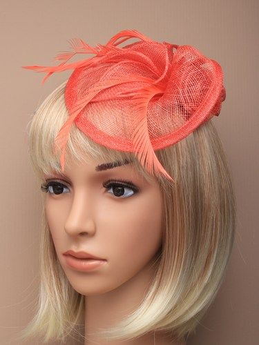 Coral fascinator with simulated roses and feathers on aliceband. (alt 3)