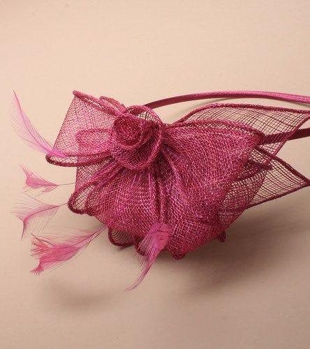 Cranberry fascinator with loops and feathers on aliceband. (alt 3)