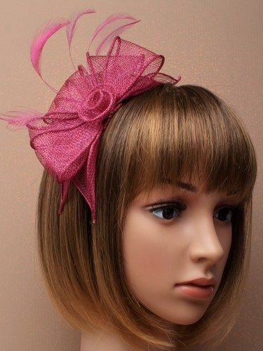 Cranberry fascinator with loops and feathers on aliceband. (alt 2)