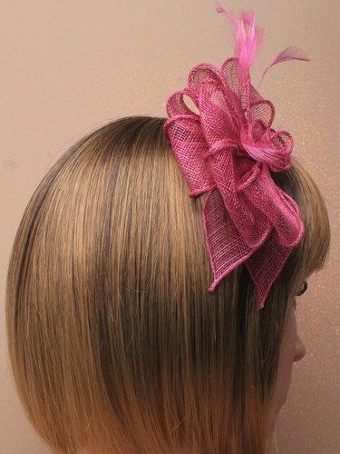 Cranberry fascinator with loops and feathers on aliceband. (alt 1)