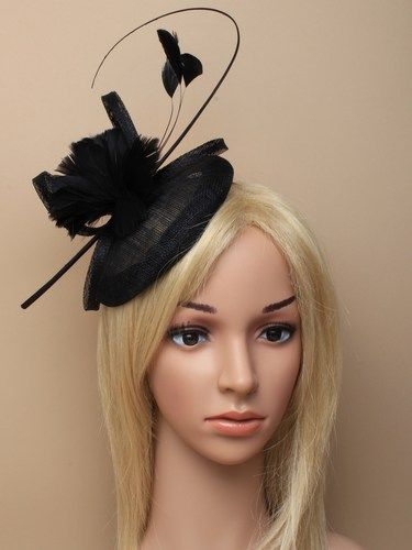 Black skull cap fascinator with feather flowers, bow and quill on aliceband. (alt 3)