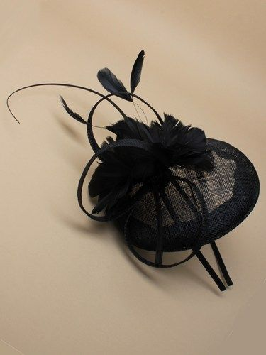 Black skull cap fascinator with feather flowers, bow and quill on aliceband. (alt 2)