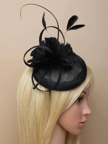 Black skull cap fascinator with feather flowers, bow and quill on aliceband. (alt 1)