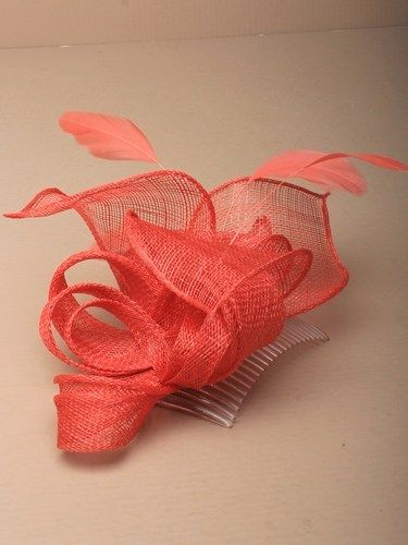 Coral fascinator with loops, leaves and feathers on comb. (alt 3)