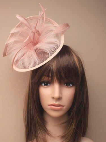 Large twisted dusky pink fascinator with feathers on aliceband. (alt 3)