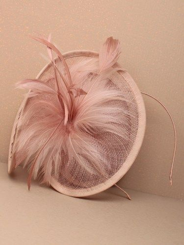 Large twisted dusky pink fascinator with feathers on aliceband. (alt 1)