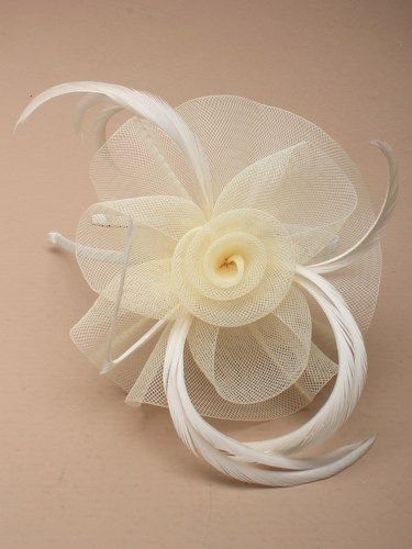 Cream fascinator with simulated flower and feathers on aliceband. (alt 3)