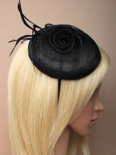 Black beret cap fascinator with flowers and feathers on an aliceband. (alt 2)