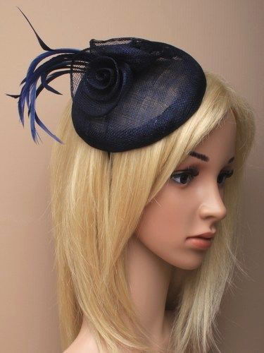 Navy beret cap fascinator with flowers and feathers on aliceband.