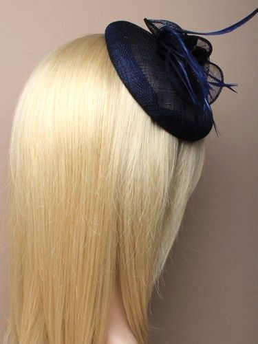 Navy beret cap fascinator with flowers and feathers on aliceband. (alt 2)