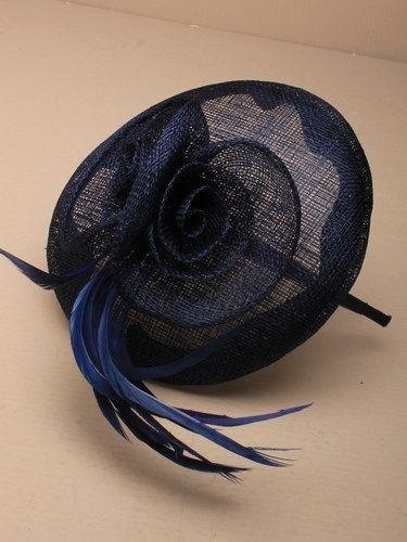 Navy beret cap fascinator with flowers and feathers on aliceband. (alt 3)