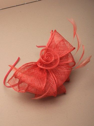 Coral fascinator with loops and feathers on aliceband. (alt 3)