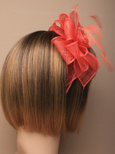 Coral fascinator with loops and feathers on aliceband. (alt 1)
