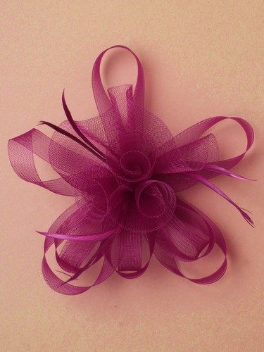 Purple looped fascinator with feathers on clip and pin. (alt 3)