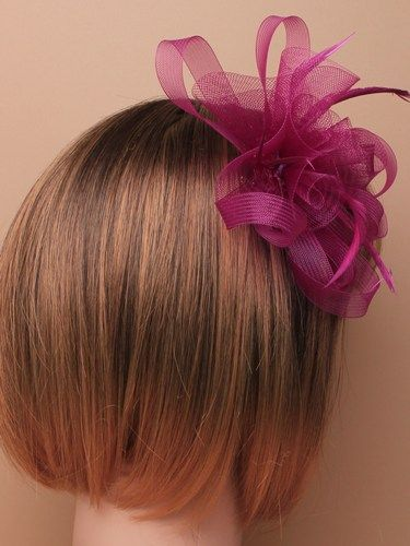 Purple looped fascinator with feathers on clip and pin. (alt 2)