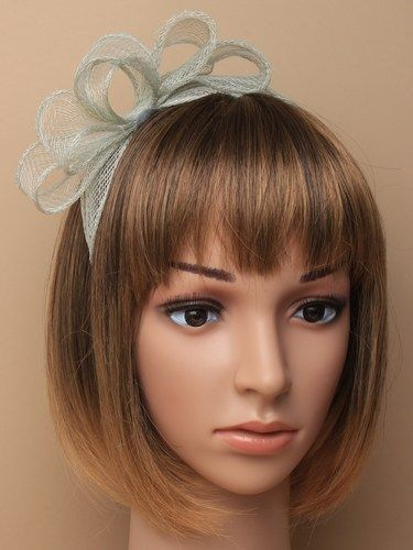 Pale sage green fascinator with bows on aliceband. (alt 2)