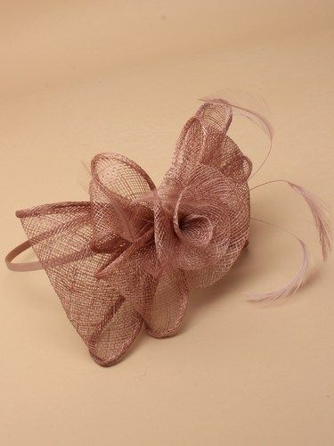 Mocha coloured fascinator with flower and bows on aliceband. (alt 3)