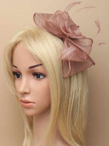 Mocha coloured fascinator with flower and bows on aliceband. (alt 2)