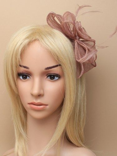 Mocha coloured fascinator with flower and bows on aliceband. (alt 1)