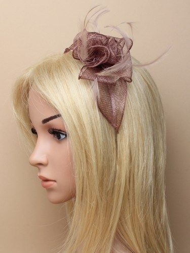 Mocha coffee fascinator with flower and feathers on aliceband.