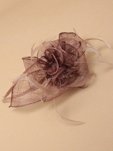 Mocha coffee fascinator with flower and feathers on aliceband. (alt 3)