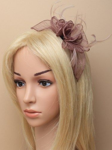 Mocha coffee fascinator with flower and feathers on aliceband. (alt 2)