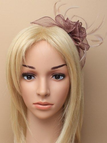 Mocha coffee fascinator with flower and feathers on aliceband. (alt 1)