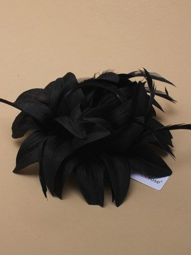 Black fabric fascinator with feathers on clip and pin. (alt 4)