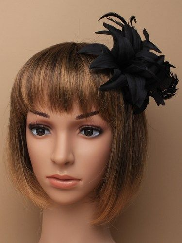 Black fabric fascinator with feathers on clip and pin. (alt 3)