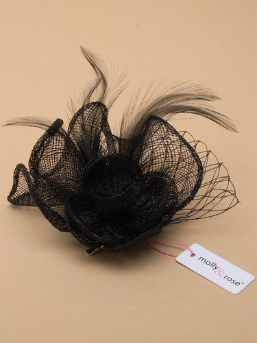 Black fascinator with flower and feathers on clip and pin. (alt 3)