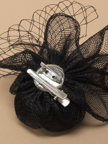 Black fascinator with flower and feathers on clip and pin. (alt 1)