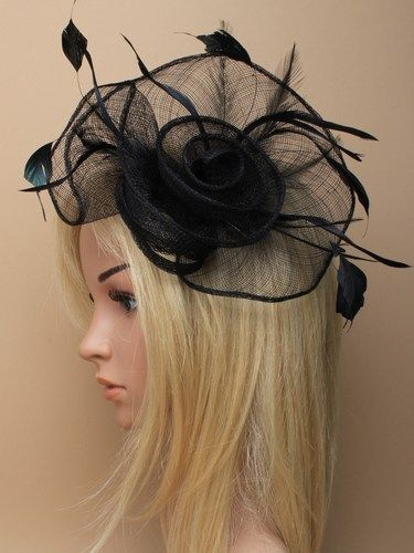 Black fascinator with loops, swirls and feathers on clip.