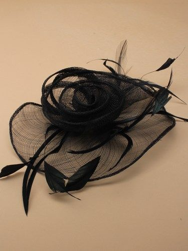 Black fascinator with loops, swirls and feathers on clip. (alt 2)