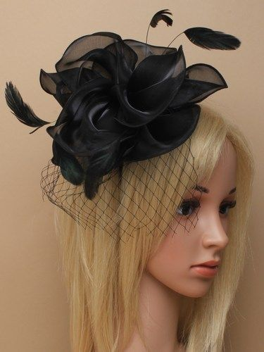 Black chiffon cap fascinator with feathers on aliceband.