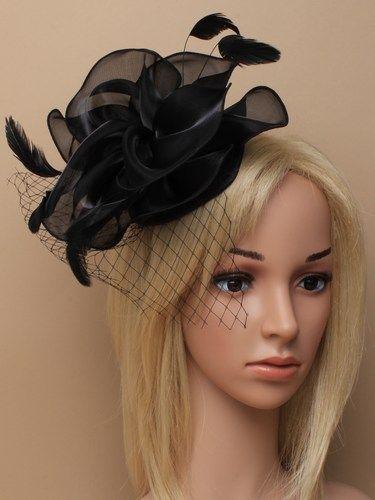 Black chiffon cap fascinator with feathers on aliceband. (alt 3)