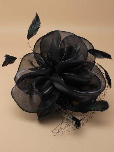 Black chiffon cap fascinator with feathers on aliceband. (alt 2)