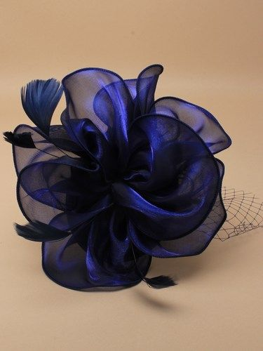 Navy fascinator with netting, feathers on aliceband 3