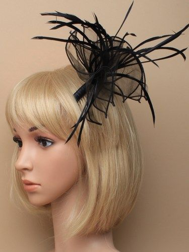 Black fabric fascinator with feathers on comb.