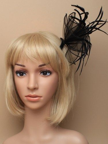 Black fabric fascinator with feathers on comb. (alt 2)